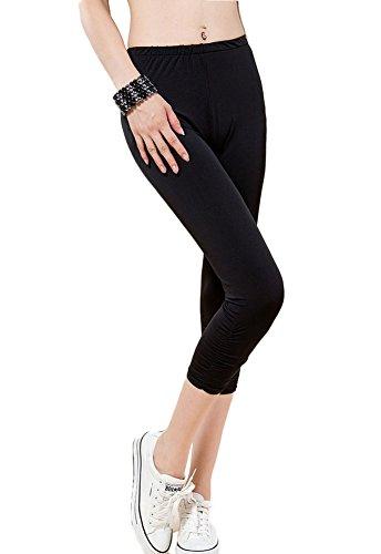 DELEY Donne Ragazze Casual Caramella Colore Ritagliata 3/4 Lunghezza Ginocchio Stretechy Yoga Pantaloni Leggings Nero 4XL