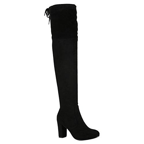 Modische Damen Stiefel Profil Sohle Overknees Block Absatz Schuhe 150319 Schwarz Schleifen Autol 41 Flandell
