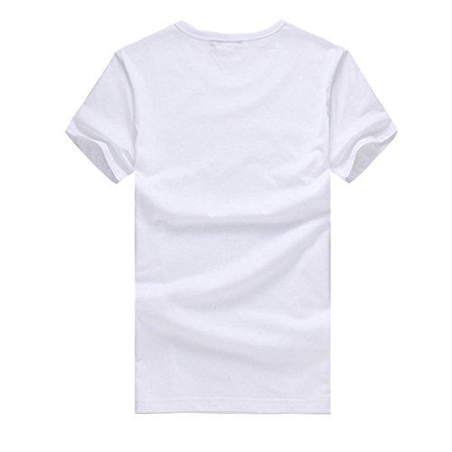 Ularma Herren Weiß T-Shirt mit Einfachen Mustern vorne Baumwolle Rundhals Hemd Pilz