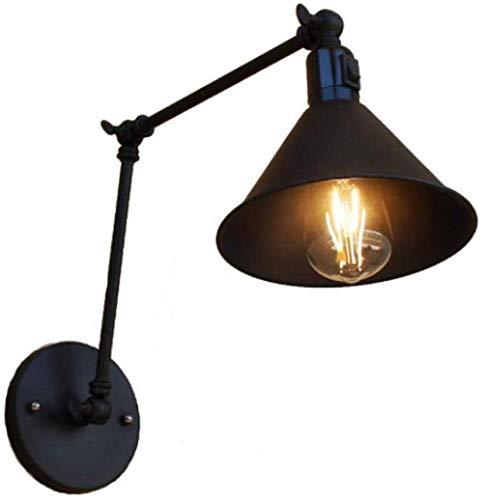 Metallwandlampe schwarze Retro-Wandlampe einfache verstellbare Innenwandlampe mit klappbarem Arm zum Lesen des Nachttisches im Schlafzimmer