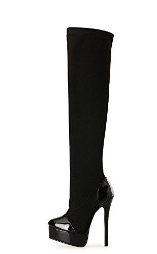 HeiSiMei Frauen High-heeled Stiefel / Stilettfersen / Over-the-Knie Stiefel / Dicke untere wasserdichte Plattform / Office & Karriere / Party & Abend / Hochzeit / Kleid / Super High Heel / Männer / Un 2-42
