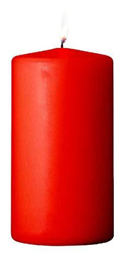 S&S-Shop 5 Stumpenkerzen | Rot | 30h Brenndauer | Kerzen | 120 x 60 mm | Anti-Tabak | Blockkerze | Deko | Rauch Killer