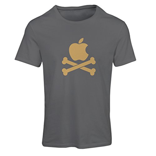 Frauen T-Shirt Lustiger Apfel und Knochen (Medium Graphit Gold)