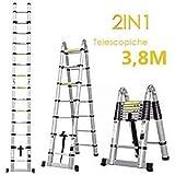 Fixkit Echelle Télescopique Escabeau Telescopique Echelle Pliante Echelle Escamotable en Aluminium 2.6M/3.2M/3.8M/5M (3.8M Pliante)
