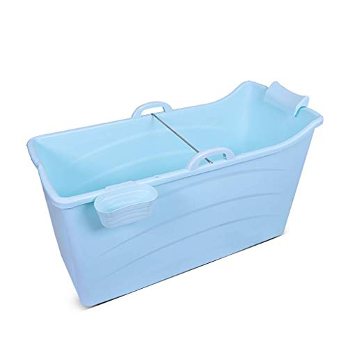 Inflatable Bathtub YX Erwachsene Badewanne, tragbare Faltbare Badewanne, große Badewanne für die Aufbewahrung im Haushalt, überdacht, blau