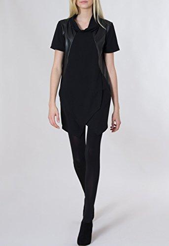 CASPAR Damen langes elegantes LongTop / Longshirt / kurzärmlig mit Kunstleder-Applikationen und Taschen - MADE IN ITALY - schwarz - LTP001 Schwarz