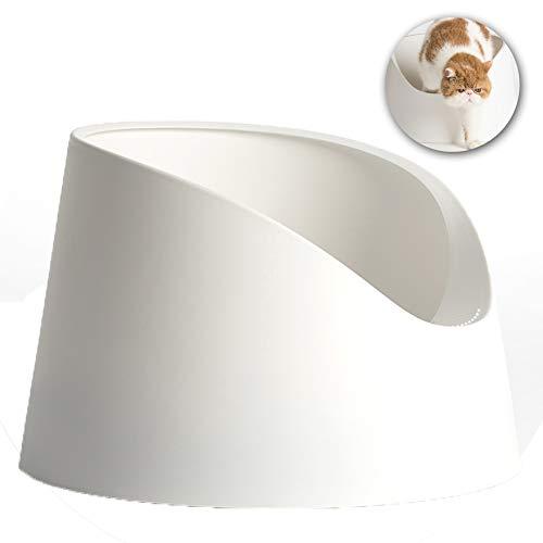 FZXPET Katzensandbecken, Einlagiges Offenes Katzentoilette, Geruchssicher + Spritzwassergeschützt + Großräumig + Anti-Band Sand Cat Sand Basin,Weiß
