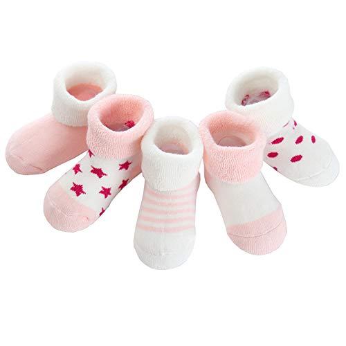 Z-chen calzini in cotone inverno, bambini e neonati, confezione da 5 paia, rosa, 0-6 mesi