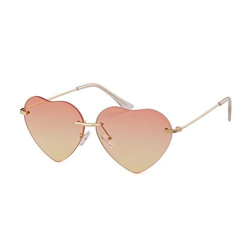 ADEWU Damen Sonnenbrille Herzform Randlos Farbverläufen Linse Metall Rahmen Retro Elegante Brille Heart Sunglasses
