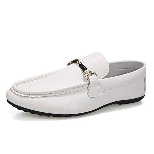 Kangfang-shoes Driving Loafer Für Männer Reine Farbe Freizeit Mode Business Komfortable Boot Mokassins Slip On Stil PU Leder Metaldecor Low Top Britischen Stil Loafer (Color : Weiß, Größe : 39 ()