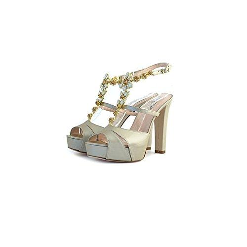 Decolte', sandali gioiello Tiffi, in pelle beige, taglia: 40