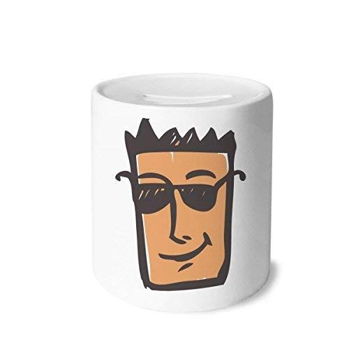 DIYthinker Sonnenbrille Abstraktes Gesichts-Skizze Emoji-Geld-Kasten Sparkassen Keramik Münzfach Kinder Erwachsene 3.5 Zoll in Height, 3.1 Zoll in Duruchmesser Mehrfarbig