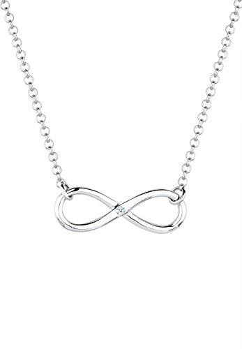 Diamore Damen Schmuck Halskette Kette mit Anhänger Infinity  Unendlichkeit Liebe Freundschaft Forever Liebesbeweis Silber 925 Diamant 0,03 Karat Weiß Länge 45 cm