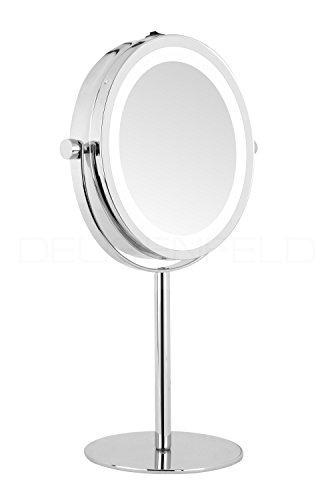 DEUSENFELD SL10CB - Batterie LED Doppel Stand Kosmetikspiegel, 10x Vergrößerung + Normalspiegel, Ø17,5cm, 360° horizontal schwenkbar, 35 SMD Tageslicht LEDs, Hochglanz verchromt