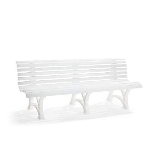 Banc d'extérieur en plastique blanc à 13 lames - largeur 2000 mm