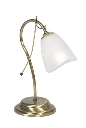 Oaks Lighting Turin Table Lamp with Acid Glass Shade, Antique Brass Finish