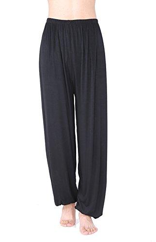 WOOD MEETS COLOR Yoga Hosen Herren Lange Schlaf Hose Modaler Weiche Strick Pyjama(L, Schwarz)