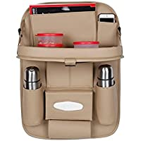 Allure Auto® 3D Car Auto Seat Back Multi Pocket Storage Bag Organizer Holder Hanger Accessory with Car Meal Tray (Beige…