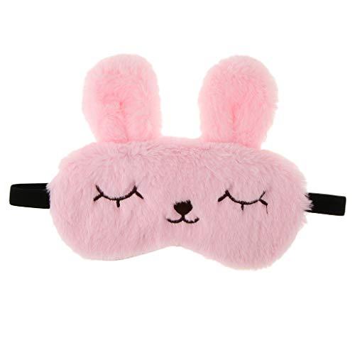 achsene Plüsch Bunny Rabbit Schlafmaske Reise Maske Augenbinde Schlafbrille für Zuhause oder Reise - Rosa ()