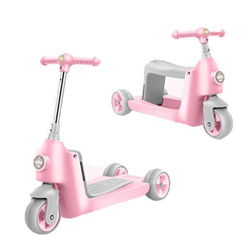 MOIMK Correpasillos Y Patinete 2 En 1 Bicicleta Sin Pedales Reversible Scooter 3 Ruedas Niño Niña 2-5 Años,Pink