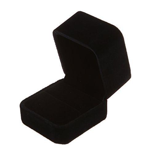 SODIAL(R) Anillo velvet grande bandeja de la exhibicion del caso de la caja joyero -, color negro