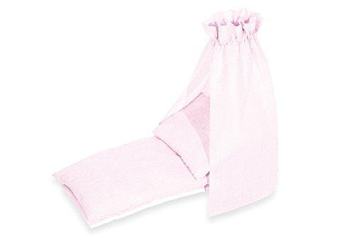 Pinolino 29685-7 - Bettzeug für Puppenwiegen, 4-tlg. mit Himmel, Vichy-Karo rosa
