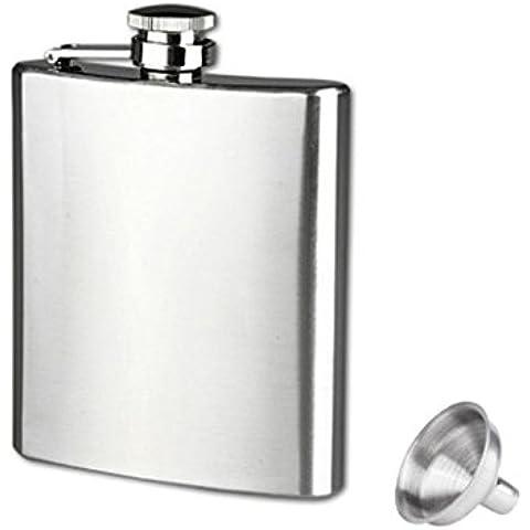 Longra Hip acero inoxidable de bolsillo frasco de alcohol del whisky licor Tapón de tuerca + Embudo (6oz)