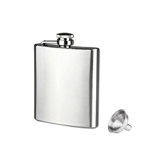 Longra Hip acero inoxidable de bolsillo frasco de alcohol del whisky licor Tapón de tuerca + Embudo