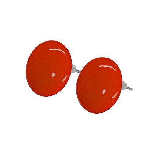 süsse Ohrstecker viele Farben Ohrringe rund 1,6cm rot gelb blau grün orange weiß, Farbe:rot