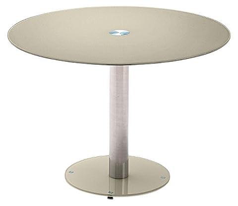 Robas Lund Tisch Küchentisch Glastisch Falko taupe rund verchromt 100x 77x 100 cm