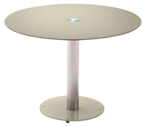 Robas Lund Tisch, Esszimmertisch, Glastisch, Falko, Taupe/verchromt, 100 x 77 x 100 cm, FA10EPTA