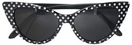 Unbekannt Damen Sonnenbrille Zaba Polka Dot Punkte Cat Eye Brille (Schwarz mit weißen Dots)