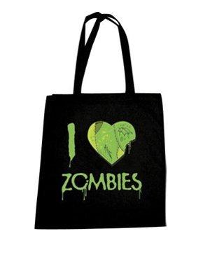 Sac cabas en coton : I Love Zombies coloris Noir