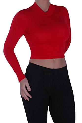 EyeCatch - Aux Femmes Tortue Cou Manche Longue Dames Plaine Chemise Polo étendue Haut Rouge