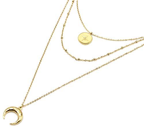 Oh My Shop CC2605F Halskette dreifach feine Kette mit Kreis Polarstern und Horn, Stahl, goldfarben