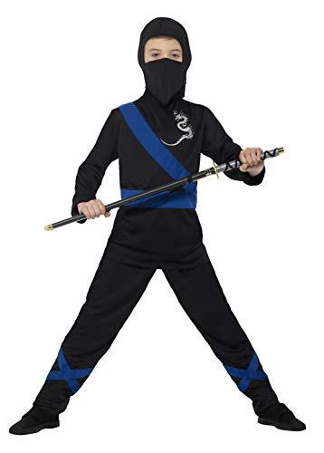 Maske Krieger Kostüm - Smiffys 21073S - Kinder Jungen Ninja Assassin Kostüm, Kapuze, Maske, Oberteil und Hose, Alter: 4-6 Jahre, mehrfarbig