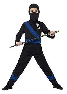 Smiffys-21073L Disfraz de Asesino Ninja, con Capucha, máscara, Parte de Arriba y, Color Negro y Azul, L-Edad 10-12 años (Smiffy