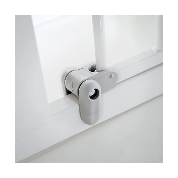 Lindam Sure Shut Axis Pressure Fit Safety Gate 76 - 82 cm, White Lindam Squeeze and lift handle for easy one handed adult opening Four point pressure fit - U shaped power frame provides solid pressure fitting; pressure indicator assures baby gate is installed correctly Also features second lock at the base of the gate 8