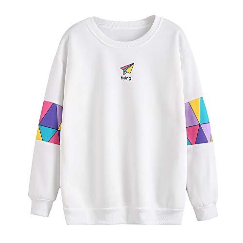 Lucky mall Frauen Langarm Bluse Brief Drucken Sweatshirt Pullover, Pullover mit Langen Ärmeln