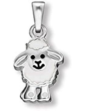 Anhänger Schaf Silber weiß lackiert, AH90007.14