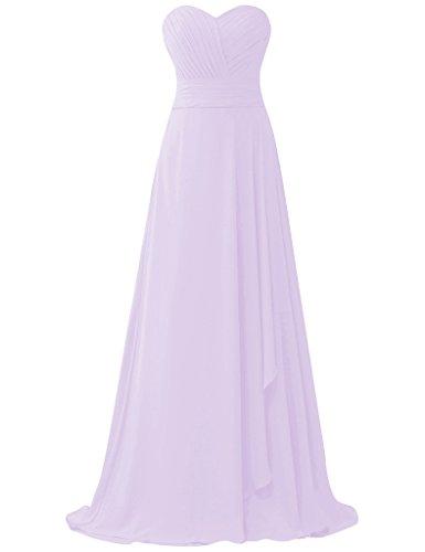 HUINI Pleats tr?gerlosen Chiffon Lange Prom Abendkleider Brautjungfer Party  Kleider Lila