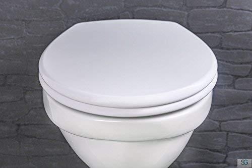 Aquashine® Premium WC-Sitz Straight Line || Hochwertiger Universal Toiletten-sitz aus Duroplast in weiss inkl. Soft-Close Funktion / Click-System zur Schnellreinigung || Einfache Montage von oben