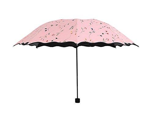 BIGBOBA Falten Regenschirm Regenschirm Anti UV Regen Sonnenschirm Leichte Winddicht Sonnenschirm Regenschirm Candy Farbe(Rosa)