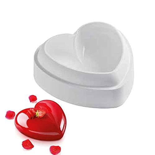 QHLJX Liebes Herz Form Kuchen Form, Silikon Herz 3D Kuchen Form Backen Gebäck Formen Schokoladen Mousse Form, Nicht klebrig wiederverwendbar, Sicherheit, Hitze/Kältebeständigkeit (3d-herz-silikon-schokoladen-form)