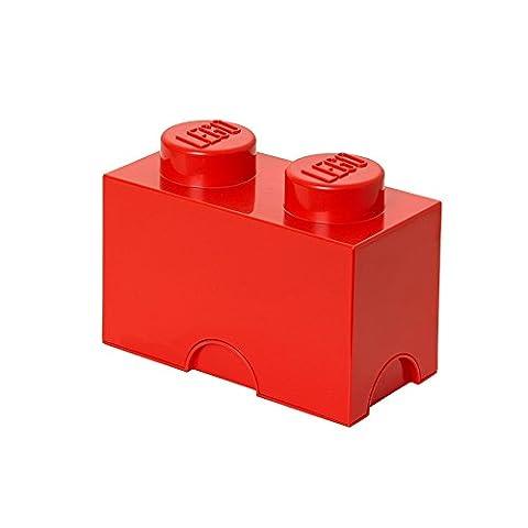 Room Copenhagen RC40021730 Lego Boîte de Rangement 2 Briques Plastique Rouge 45 x 35 x 25 cm