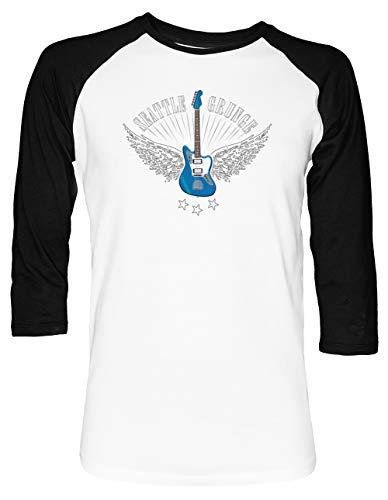 x Baseball T-Shirt 2/3 Ärmel Herren Damen Weiß Schwarz ()