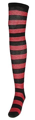Y-BOA Chaussette Collant Cuissarde Femme Fille Rayé Sock Genou Long Haut Chaude Rouge Noir