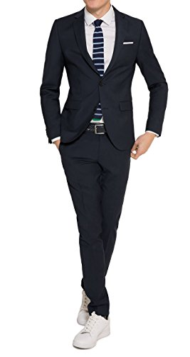 Slim Fit - Herren Anzug in Schwarz oder Blau, Luigi/Elio (880 1420), Farbe:Blau(10);Größe:50