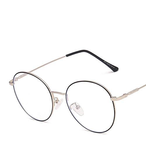 Klerokoh Runde Unisex Brille mit Unisex rundem Rahmen Retro-Brille Unisex für Frauen aus Metall (Color : Black Silver)