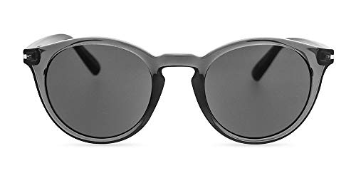 MessyWeekend Hobbes - Runde Moderne Dänische Designer Sonnenbrillen mit UV400 Schutz Transparent Grau